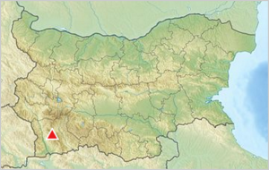 pirin mountain position on the map of Bulgaria