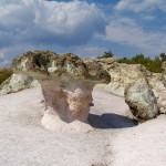 a sunny day at the stone mushrooms rock phenomenon site