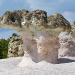a close up of a mushroom-like stone at the stone mushrooms rock phenomenon
