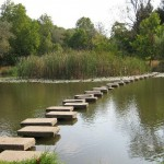 lipnik park - the stone steps in the lake