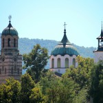 panoramic view of the new church and the watch tower at the city of Elena