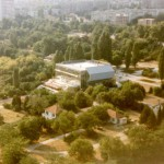 varna dolphinarium - panoramic view of the building in the park
